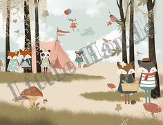 Camping Day - The wallpaper can be ordered in various sizes. We are like tailors, the wallpaper will fit perfectly on your wall, you just have to give us the measures you need!