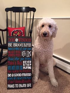 Reclaimed wood Dog Wisdom Rules Sign, Goldendoodle, Pet, Paw print, Inspirational, Dog Lover, Gifts, Rustic, Handmade, Custom Sign