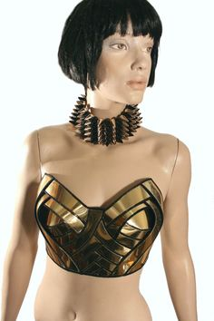 Goldcomic con wonder woman halter top sci fi cosume lady by divamp