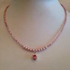 Dainty pink pearl and vintage seed bead choker with dangling Swarovski light pink charm...pink love!