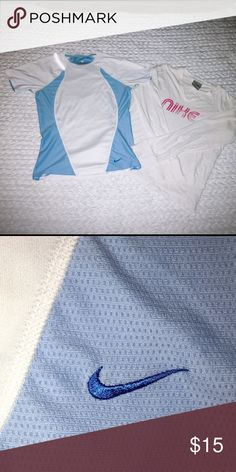 Nike bundle tops Two Nike tops. White and blue size xs, long sleeve tee size small. Great condition! Nike Tops