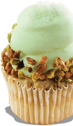 Pistachio cupcake with pistachio buttercream frosting rimmed with crunchy/salty pistachio nuts topped with coarse sea salt from Gigi's Cupcakes
