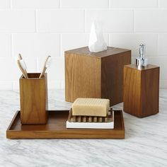 Loft Bath Accessories (sale $9.99 – $14.99)  Downtown style. Inspired by mid-century design, the Loft Bath Collection shows off the natural beauty and sophistication of wood veneer.