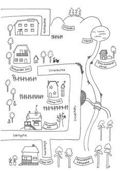 Utin kartta värityskuva blogissa Diagram, Bullet Journal