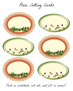 Free Thanksgiving Printable: Place Setting Cards
