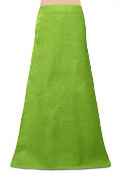 Plain Cotton Readymade Petticoat in Light Green