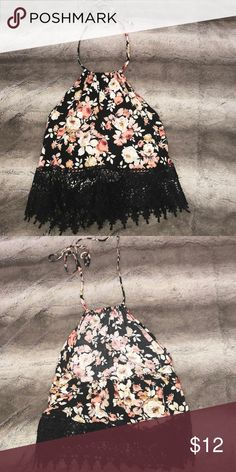 90a25b4487b Floral halter crop top Ties at top Flowy Fits like S Tops Crop Tops