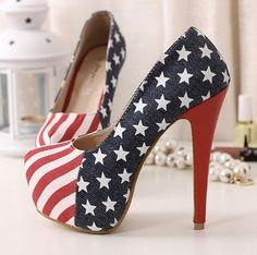 Sexy Womens Platform Pumps American Flag Stiletto Super High Heels Shoes Gartner perfect for your MERICA wedding Platform Stilettos, Pumps Heels, Stiletto Heels, Sexy Heels, Estilo One Direction, Cute Shoes, Me Too Shoes, Big Shoes, Striped High Heels