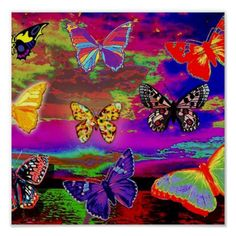 Shop psychedelic Butterflies Poster created by Personalize it with photos & text or purchase as is! Wallpaper Pastel, Hippie Wallpaper, Trippy Wallpaper, Mood Wallpaper, Butterfly Wallpaper, Wallpaper Iphone Cute, Butterfly Painting, Butterfly Art, Butterflies