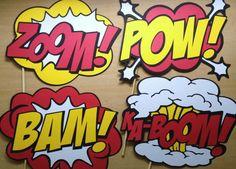 Printable Comic Photo Booth Props Superhero Photo by CleverMarten … Superhero Cartoon, Superhero Classroom, Superhero Birthday Party, Superhero Photo Booth, Photo Booth Props, Superhero Ideas, Be My Hero, Wedding Photo Booth, Festa Party