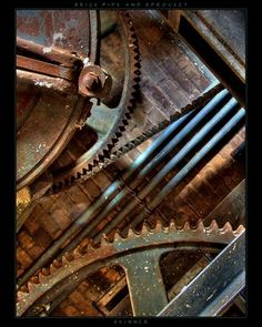 gears, industrial, metal, silver, gold, screws, cold, smooth, meshes tightly together, shiny, turning parts, copper, brass, nuts, bolts, chain