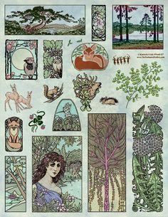 Art Nouveau woodland animals deer, squirrel, fox, scenic landscape forest rubber stamps leaf fern flora.