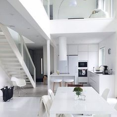 The amazing all white home of @jonna_myhome  # kitchen #keittiö #interior #hay. #vitra #marimekko #puustelli #whitehome #iittala #interior123 #interior2you #interior4all #scandinavianhomes #sisustus #finahem