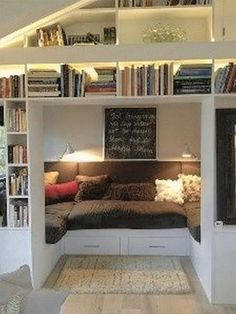 81 Cozy Home Library Interior Ideas Modern houses are not only about living rooms, the kitchen, bedrooms, the dining space or the toilets. The most recent and hottest trends is the advent of incredible home libraries. Cozy Home Library, Cosy Home, Library Wall, Furniture For Small Spaces, Living Room Furniture, Living Room Decor, Diy Furniture, Green Furniture, Furniture Storage