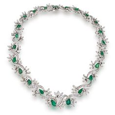 Emerald And Diamond Necklace Mounted In Platinum