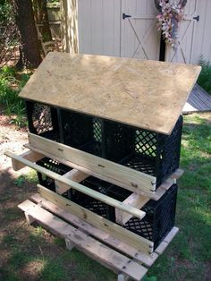 great use of plastic crates-chicken coops for the chicken enclosure