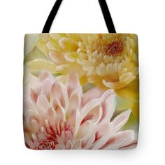 """Layered Mums Tote Bag (18"""" x 18"""") by Sand And Chi .  The tote bag is machine washable, available in three different sizes, and includes a black strap for easy carrying on your shoulder.  All totes are available for worldwide shipping and include a money-back guarantee."""