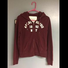 Burgundy Abercrombie and Fitch A&F zip hoodie size Large Abercrombie & Fitch Jackets & Coats
