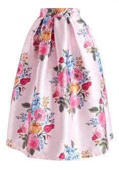Compelling Bouquet Printed Midi Skirt in Pink - NEW ARRIVALS - Retro, Indie and Unique Fashion