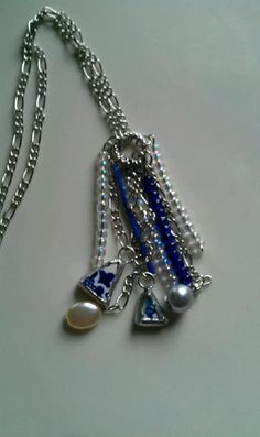 Blue Broken China Dangle Necklace by Mysticglassduo on Etsy, $45.00 Broken China Crafts, Handcrafted Jewelry, Unique Jewelry, Jewelry Crafts, Dangles, Pendant Necklace, Trending Outfits, Handmade Gifts, Blue