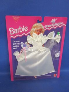1994 Barbie Fashion Bridal Collection Satin off Shoulder Gown 65292 Mattel for sale online Barbie 90s, Vintage Barbie Dolls, Barbie And Ken, Barbie Clothes, Barbie Outfits, Barbie Bridal, Barbie Wedding Dress, Wedding Doll, Wedding Bride