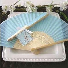 100 BLUE Silk Fans BEACH Wedding Favor Place Holder