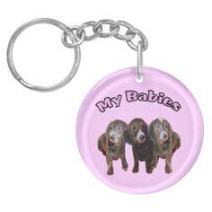 Three Dachshund Dogs Key Chain Round Acrylic Key Chains