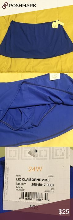 New royal blue swimsuit bottom This royal blue bottom swimsuit is brand-new has tags attached, original price $52. It is size 24W in excellent condition. Buy more than one & save, see my other listings and colors. Liz Claiborne Swim