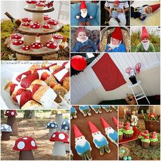 Gnome party ---OMG! Love the cupcake stand, gotta go chop down a tree...