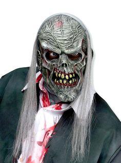 Zombie Maske grau   Gruselige Halloweenmaske   horror-shop.com #Zombie #ZombieMask #Halloween #HalloweenCostume