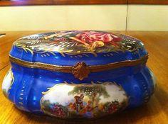 Vintage Porcelain Jewelry Casket Box Sevres Style Brass Scrolled Closure | eBay