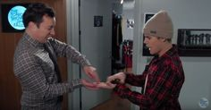 Jimmy Fallon and Justin Bieber ran into each other in the corridor -- check out their minute-and-a-half long secret handshake!