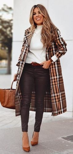 Glamorous Spring Outfits To Copy Now brown and white plaid coat Fall Winter Outfits, Autumn Winter Fashion, Spring Outfits, Winter Wear, Summer Wear, Fashion Mode, Womens Fashion, Fashion Trends, Fashion 2016