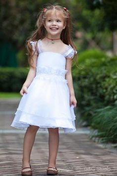 Fashionable A-line Square Knee-length Satin and Organza Flower Girl Dress FAL0185-G