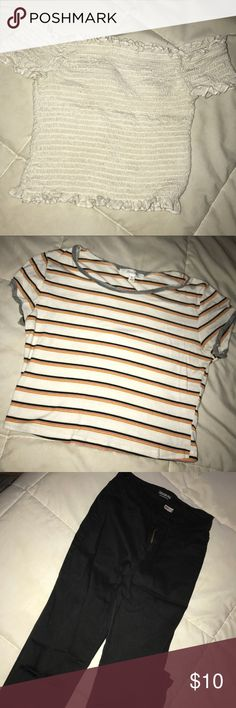 Girl clothing The pants are size 5 I got from fashion nova never worn   The striped crop top is size medium from forever 21   The white ribbed crop is from Tillys size small Tops Crop Tops
