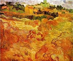 Vincent van Gogh,  Wheatfields with Auvers in the Background,1890 on ArtStack #vincent-van-gogh #art