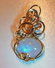 FLASHY Rainbow Moonstone Oval Pendant 14K Gold Filled wire wrapped FANCY