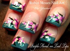 #DIY Easy #Flowers on #French Tips #NailArt #Design #Tutorial & kickstarter info!