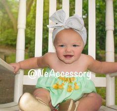 Black Polka Dots Baby head wrap Baby Turban Big Bow by NeAccessory