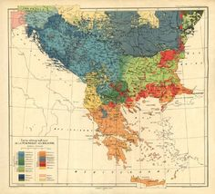 Ethnographic map of the Balkan Peninsula from 1918