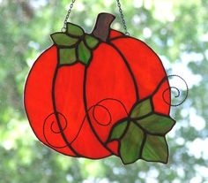Autumn Pumpkin - by Ladybug Stained Glass