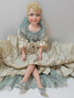 Antique Boudior Doll Straw Fill Torso Wood Legs Arms Silk Cloth Painted Face | eBay
