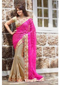 rose sari en mousseline de soie, - 85,00 €, #RobeIndienne #TissuSari #SariPasCher #Shopkund