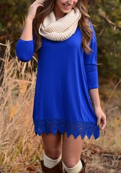 Stay comfy all day in this blue lace mini dress. Wear it with style by teaming it up with scarf and boots. See more amazing items at Fichic.com !