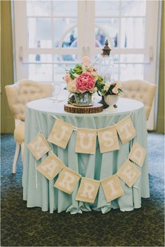 """Mint and Pink Vintage Summer Wedding by Brett and Jessica  *mint green chalkboards with """"bride and groom's family"""" * empty gold"""" lanterns with flowers, baby's breath"""