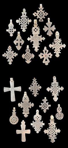 Ethiopia   20 variations of Silver Pendant Crosses