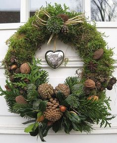 Moss Covered Christmas Wreath.