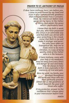 ~Prayer to St. Anthony of Padua Catholic Prayers, Novena Prayers, Spiritual Prayers, Prayers For Healing, Bible Prayers, Intercession Prayers, Catholic Quotes, Spiritual Quotes, Night Prayer