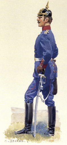 Hauptmann, Bayerisches Infanterie-Regiment König (By Carl Becker, from the Anne S. German Uniforms, Military Uniforms, Uniform Dress, Austro Hungarian, Theatre Design, Scenic Design, Military History, World War, Sailor