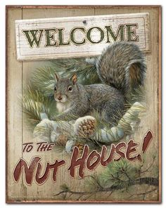Welcome to The Nut House (Cute Squirrel) Tin Sign - American Expedition